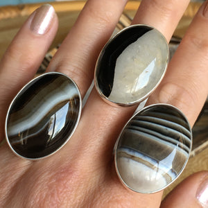 Agate and Silver Ring