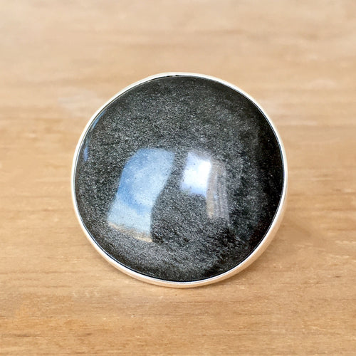 Silver Sheen Obsidian Ring