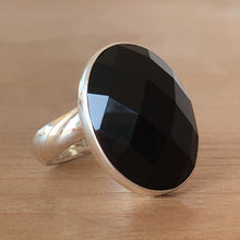 Faceted Onyx & Silver Ring