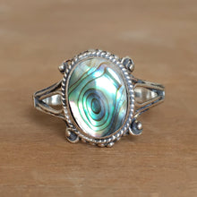 Abalone and Silver Stacking Ring