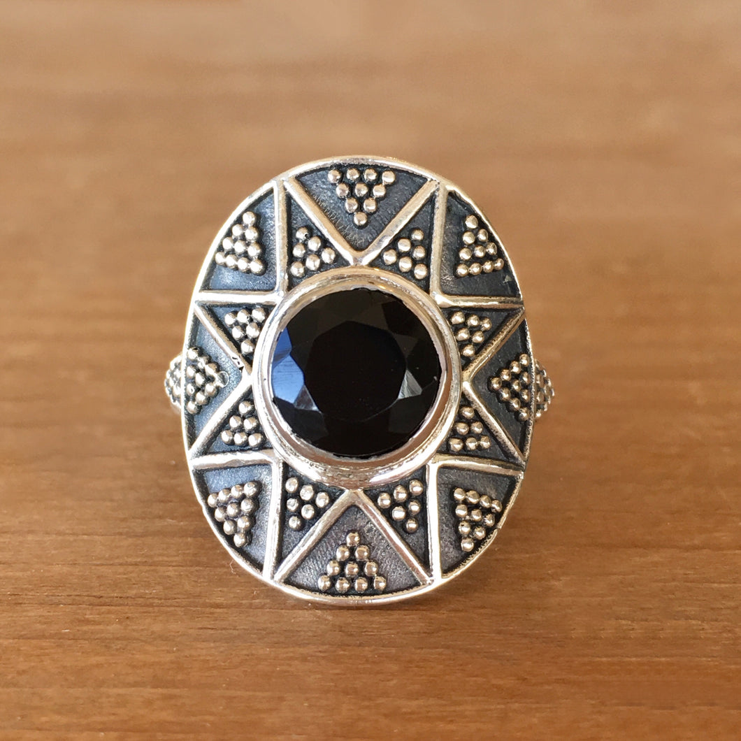 Faceted Onyx and Silver Ring - size 8.25