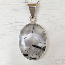 Tourmalinated Quartz and Silver Pendant
