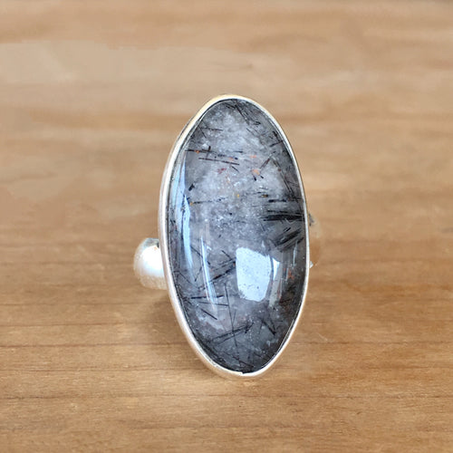 Tourmalinated Quartz and Silver Ring