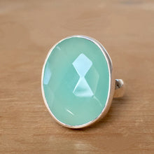 Aqua Chalcedony and Silver Ring