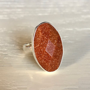 Goldstone and Silver Ring