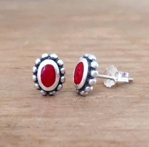 Coral & Silver Earrings