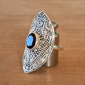 Manifest Onyx and Silver Ring - size 6.5