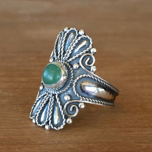 Wild Flower Jade Ring - size 7.25