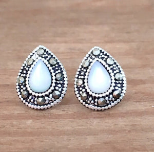 Mother of Pearl Marcasite Earrings