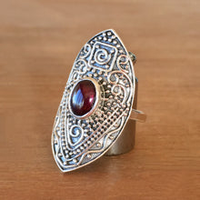 Manifest Garnet and Silver Ring - size 7.5