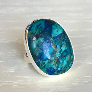 Chrysocolla and Silver Ring