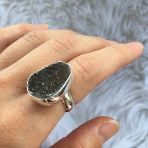 Druzy and Silver Ring