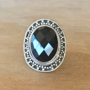 Faceted Onyx and Silver Ring - size 6.5