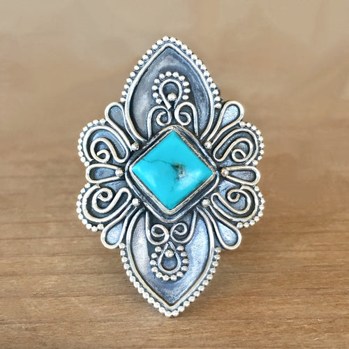 Bondi Turquoise and Silver Ring - size 8.25