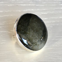 Golden Sheen Obsidian and Silver Ring