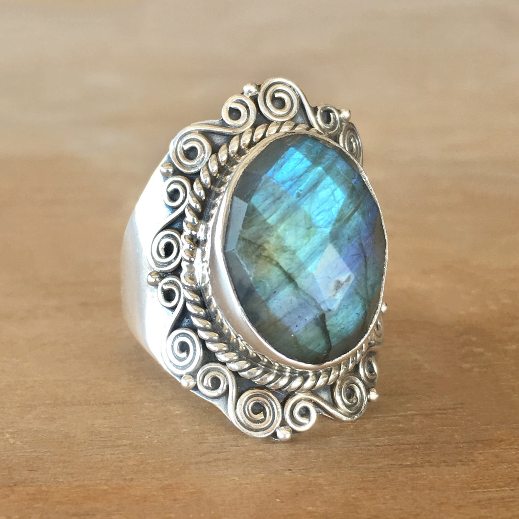 Faceted Labradorite and Silver Ring - size 8