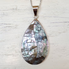 Black Mother of Pearl and Silver Pendant