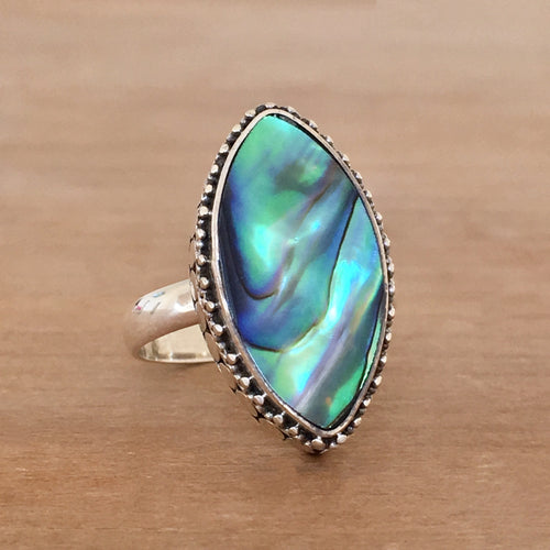 Abalone and Silver Ring - size 6.75