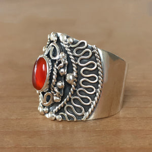 Carnelian and Silver Ring - size 7.5