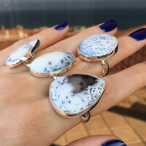 Dendritic Agate and Silver Ring