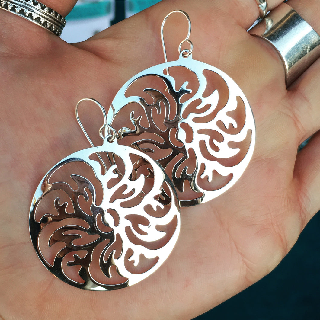 Cyclone Silver Earrings