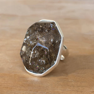 Crackled Smoky Quartz and Silver Ring