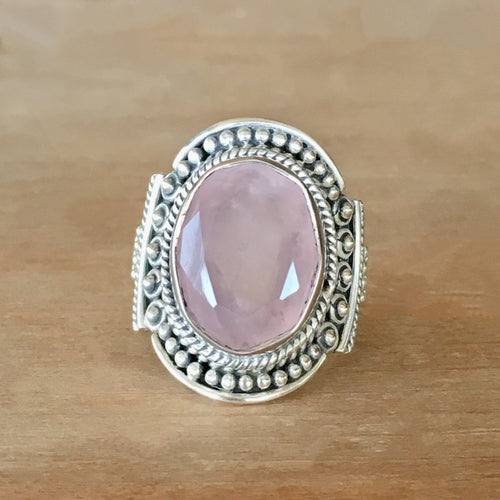 Rose Quartz and Silver Ring - size 8