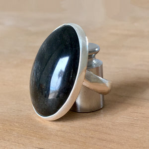 Nova Silver Sheen Obsidian Ring