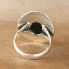 Faceted Onyx and Silver Ring - size 8.5