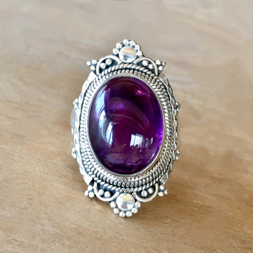 Amethyst and Silver Ring - size 6.75