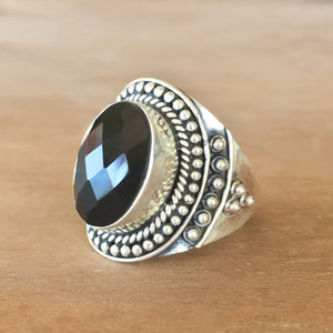 Faceted Onyx and Silver Ring - size 7.5