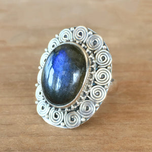 Labradorite and Silver Ring - size 7.75