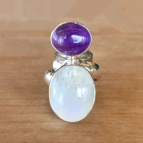 Moonstone and Amethyst Ring