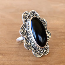 Onyx and Silver Ring - size 8