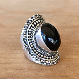 Onyx and Silver Ring - size 6.5