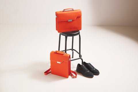 Briefcase and backpack combination orange