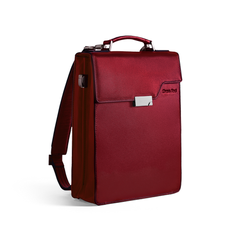 Evan Red leather laptop backpack with a unisex, modern design and smart interior - Best business trip companion
