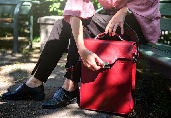 Deep Red Leather Backpack | Stylish & Functional Luxury Backpack | Evan Red