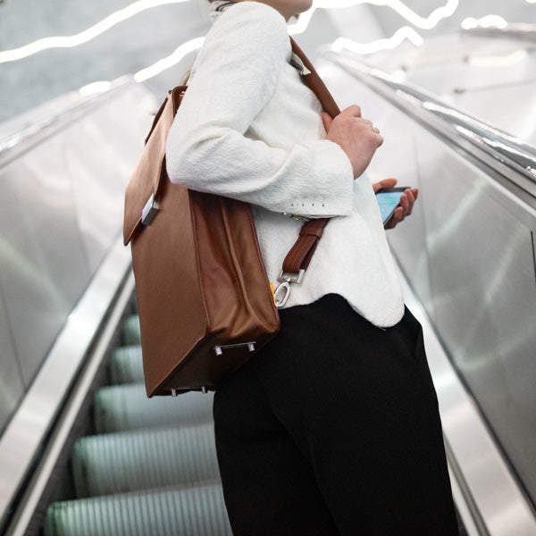 Tan Camel Backpack For Working Women | Evan Red Luxurious Leather Bags From the Netherlands