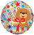 Convergram Mylar & Foil Happy Birthday Bear with Present 18″ Balloon
