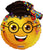 Convergram Mylar & Foil Smiley Face Graduation Emoji with Glasses 24″ Balloon