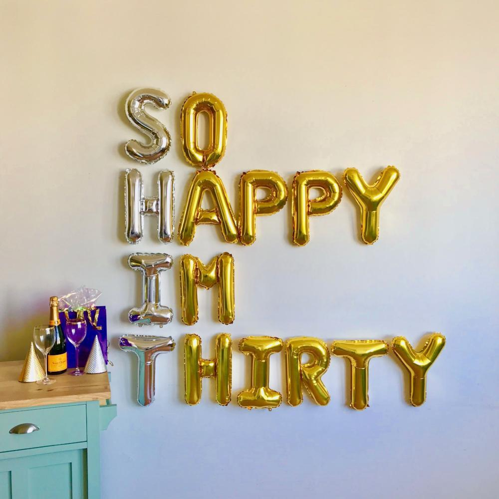 So Happy Im Thirty Balloons 16 Silver and Gold Foil Balloons Birthday Same Day Shipping Monday-Saturday
