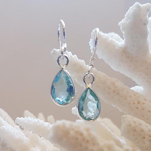 Teardrop Blue Topaz Earrings OUT OF STOCK