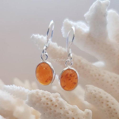 Oval Amber Earrings