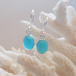 Oval Blue Agate Earrings