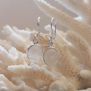 Oval Rainbow Moonstone Earrings