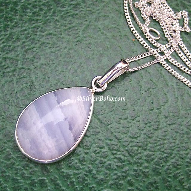 Blue Lace Agate Necklace - Teardrop
