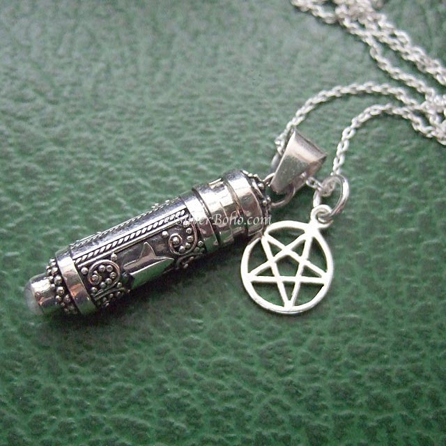 Rainbow Moonstone Poison Locket & Pentagram Necklace