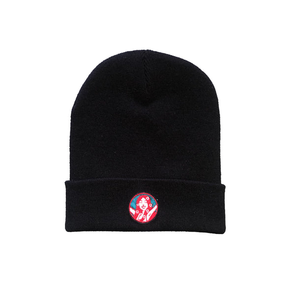 Wee Toast Black Beanie Hat with Lana Badge
