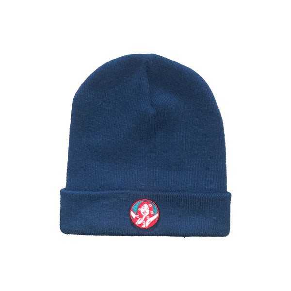 Wee Toast Blue Beanie Hat with Lana Badge